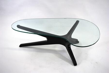 Fine Mod Imports FMI8009 Sculpt Coffe Table With Glass Top: X Finish