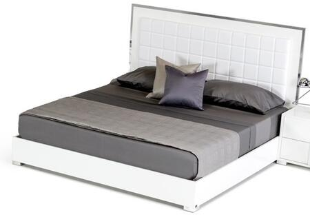 VIG Furniture VGACSANMARINO Modrest San Marino Bed with Stainless Steel Frame, Chrome Finish, LED Light, Solid Melamine Wood Platform and Leatherette Upholstery in Glossy Whit