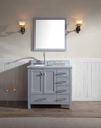 "Ariel ARIEL Cambridge 37"" Single Sink Vanity Set w/ Left Offset Sink"