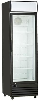 Kool-It KGMx3 Single Glass Door Refrigerator with cu. ft. Capacity, Shelves, HP, Digital Temperature Display, LED Lighting, in Black