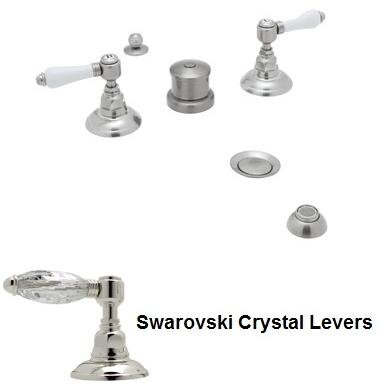 Rohl A1460LC Italian Country Bath Collection Widerspread Bidet Faucet with Five Holes and Swarovski Crystal Levers in