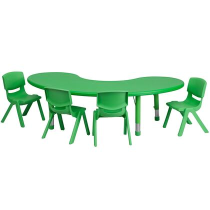 """Flash Furniture YU-YCX-0043-2-MOON-TBL-XX-E-GG 35""""W x 65""""L Adjustable Half-Moon Plastic Activity Table Set with 4 School Stack Chairs"""