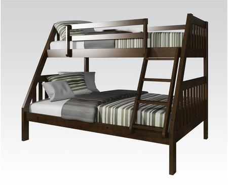 Acme Furniture Ryo Collection Twin Over Full Size Bunk Bed with Reversible Front Ladder, Easy Access Guardrail, Slats System Included and Brazil Taeda Pine Wood Construction in