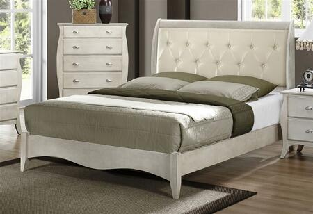 Yuan Tai AS6400 Astoria Panel Bed in Off-White Finish