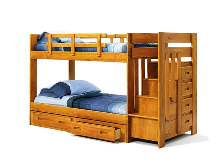 Chelsea Home Furniture 361548 Twin Over Twin Bunk Bed with Reversible Staircase, Rustic Style, Solid Plantation-grown Pine, and Stain Finished in Honey