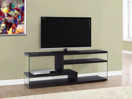 "Monarch I269X 60"" TV Stand with 2 Fixed Shelves, Modern Contemporary Design and Tempered Glass"
