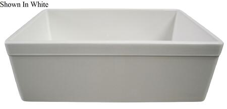 "Alfi AB511 30"" Decorative Lip Apron Single Bowl Farmhouse Kitchen Sink with Fireclay and 3 1/2"" Rear Center Drain in"