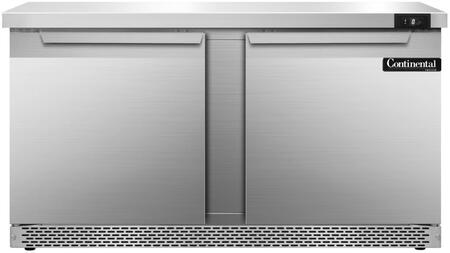 "Continental Refrigerator SWF60F 60"" Worktop Freezer with 17 Cu. Ft. Capacity, Front Breathing Compressor, Aluminum Interior, Interior Hanging Thermometer, and Environmentally-Safe Refrigerant, in Stainless Steel"