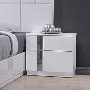 J M Furniture Palermo 4 Piece Platform Bedroom Set in White Lacquer   Chrome 02