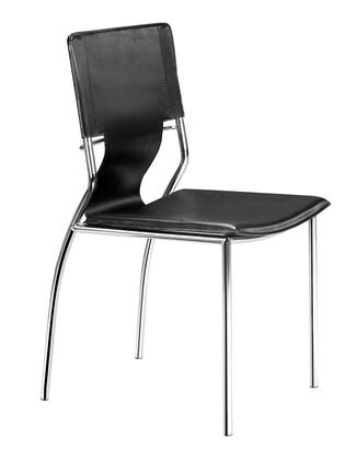 "Zuo 40413 Trafico 33"" Dining Chair with Chromed Steel Tube Frame and Leatherette Sling"
