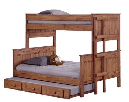Chelsea Home Furniture 312009-450-X Twin Over Full Stackable Bunk Bed, with Rustic Style, Slats, and All Pine Wood Construction in Mahogany Stain
