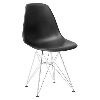EdgeMod EM104CRMBLK Padget Series Modern Metal Frame Dining Room Chair