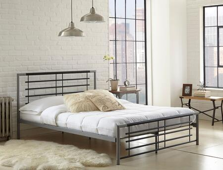 Rest Rite Leah MFP02153xx X Size Platform Bed with Metal Frame and Modern Style in Silver and Black