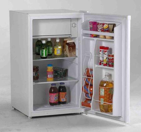 Avanti RM4120W  Freestanding Compact Refrigerator with 4.1 cu. ft. Capacity, 2 Glass ShelvesField Reversible Doors