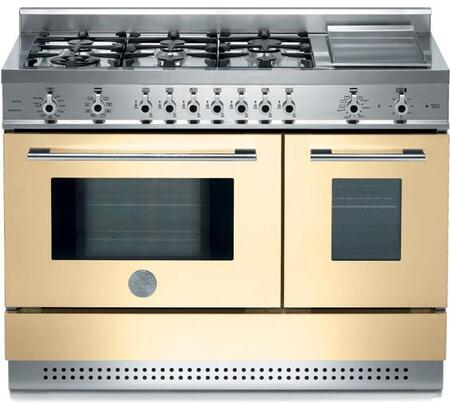 Bertazzoni X486GPIRCRLP Professional Series Dual Fuel Freestanding Range with Sealed Burner Cooktop, 2.9 cu. ft. Primary Oven Capacity, in Cream