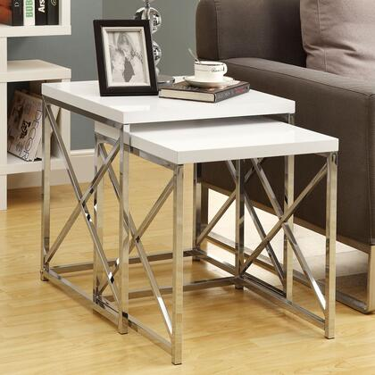 Monarch I 302 2 Piece Nesting Table Set, with Glossy Top, and Chrome Metal Base