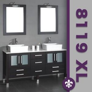 """Cambridge 8119XLX 71"""" Solid Espresso Wood Bathroom Vanity is Competed with a White Porcelain Counter Top and 2 Matching White Vessel Sinks. Included: 2 Faucets, 2 Mirrors"""