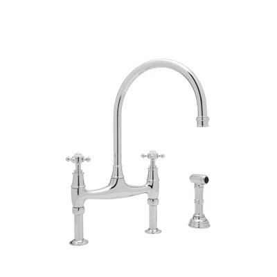 Rohl U.4718X--2 Perrin and Rowe Collection Bridge Faucet With Cross Handles and Sidespray, California AB 1953 and Vermont S152 Compliant: