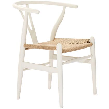 Modway EEI552WHI Amish Series Armchair Wood Frame Accent Chair