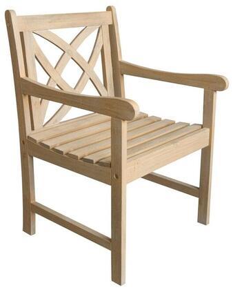 Vifah V1702 Beverly Series  Wood Frame  Patio Arm Chair