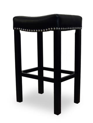 """Armen Living LCMBS013BA30X Tudor 30"""" Stool with Chrome Nails and Bonded Antique Leather in"""