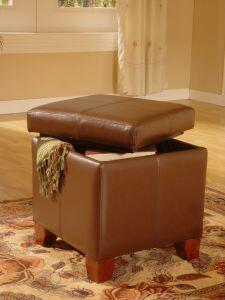 Lanza WF5937DC Lanza Series Contemporary Leather Ottoman