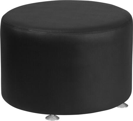 "Flash Furniture Hercules Alon Collection 24"" Ottoman with Foam Filled Cushion, Floor Glides, Round Shape, Line Stitching and LeatherSoft Upholstery in"