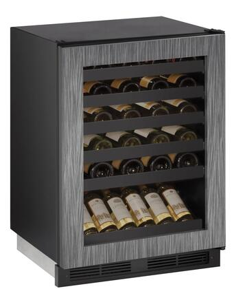 "U-Line U1224WCx 24"" 1000 Series Wine Captain with 5.2 cu. ft. Capacity, Digital Passive Cooling, LED Lighting, 4 Leveling Legs, and 6 Black Vinyl Coated Wine Racks, in"