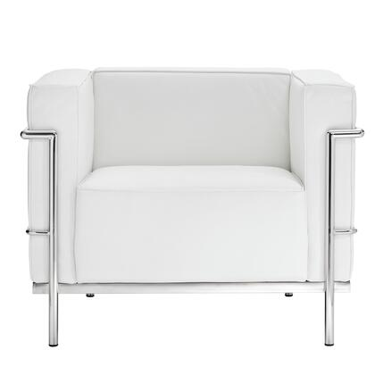 Modway EEI565WHI Charles Series Leather Armchair with Metal Frame in White