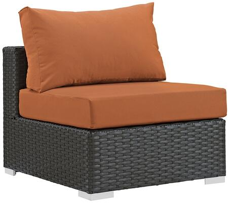 Modway Sojourn Collection Outdoor Patio Armless Chair with Synthetic Rattan Weave Material, Powder Coated Aluminum Frame and Sunbrella  Fabric Cushions in