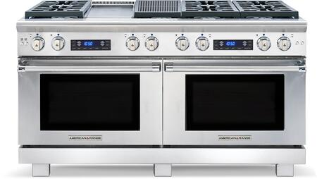 "American Range ARR-606GDGRDF 60"" Medallion Dual Fuel Range with Two 4.9 Cu. Ft. Capacity Ovens, 6 Sealed Burners, 11"" Griddle and 11"" Char-Grill, in Stainless Steel:"