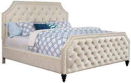 Furniture of America Claudine CM7675X Bed with Contemporary Style, Nail head Trim, Crystal-like Acrylic Buttons Corner Cut-out Design Headboard and Footboard in Beige