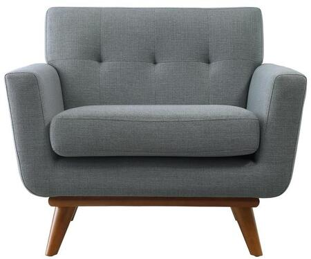 EdgeMod EM227WALLGR Mari Series Polyester Lounge with Wood Frame in Light Grey