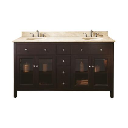 "Avanity Lexington LEXINGTON-VS60-LE-X 60"" Double Sink Vanity with X Top and Sink in Light Espresso"