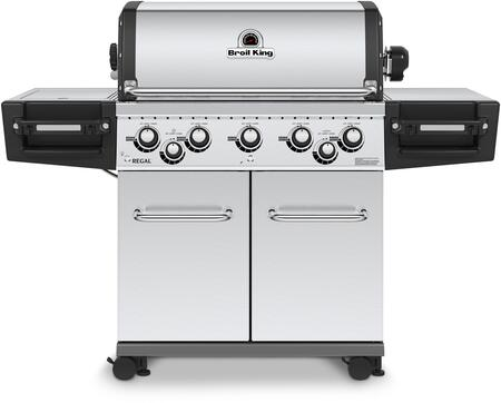 Broil King 95834x REGAL  S590 PRO Gas Grill with 5 Burners, 55000 BTU Main Burner Output, 625 sq. in. Cooking Area, 10000 BTU Side Burner, and 15000 BTU Rotisserie Burner, in Stainless Steel