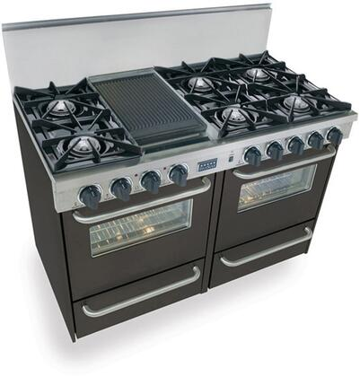 "FiveStar TTN5107 48"" Freestanding Natural Gas Range With 6 Open Burners, 2.92 Cu. Ft. Manual Clean Oven, Broiler Drawer, Double Sided Grill/Griddle, Vari-Flame Simmer, In"