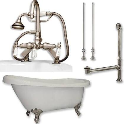"Cambridge AST67684DPKGXX7DH Acrylic Slipper Bathtub 67"" x 30"" with 7"" Deck Mount Faucet Drillings and Complete Plumbing Package"
