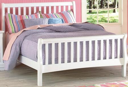 New Classic Home Furnishings 1415-SB Bayfront Sleigh Bed with Transitional Design, Headboard, Footboard, Slats and Rails, in White