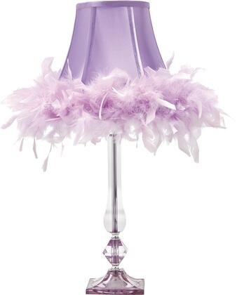 """Milo Italia Scott LT335422TM 24"""" Acrylic Table Lamp with Softback Bell Shade, On-Off Switch and Feather Rim in"""