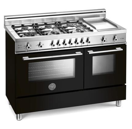 "Bertazzoni Professional Series X48 6G GGV TT LP 48"" Freestanding Gas Range with 6 Sealed Burners, 2.9 cu. ft. European Convection, 1.8 cu. ft. Auxiliary Oven, Storage Drawer and Electric Griddle"