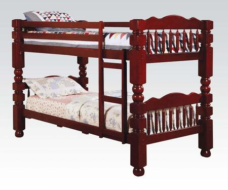 Acme Furniture 0257C Benji Twin Over Twin Bunk Bed with Climb Up Ladder, Bun Feet, Solid Wood and Wood Veneer in