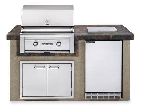 Lynx Sedona L1500XLP Deluxe XX Island Package Includes Sedona L500PS Grill, Sedona Outdoor-rated Refrigerator, Single Side Burner and Double Doors
