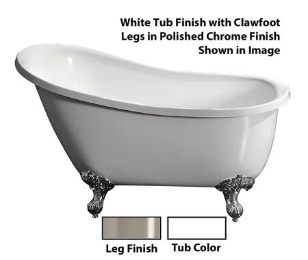"Barclay ATSN51IWH Demille 51"" Acrylic Roll Top Slipper Tub, with White Tub Finish, No Overflow, Imperial Clawfoot Design, No Faucet Holes, with Clawfoot Finish in"