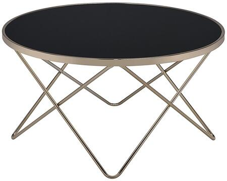 """Acme Furniture Valora Collection 34"""" Coffee Table with 5mm Tempered Frosted Glass Top, Overlapped """"V"""" Shape Metal Base, Round Shape and Metal Tube Frame in"""