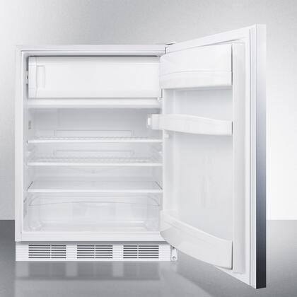 """Summit AL650SSHH1 24"""" Top Freezer Refrigerator with 5.1 cu. ft. Capacity, Adjustable Glass Shelves, Cycle Defrost and Zero Degree Freezer in Stainless Steel"""