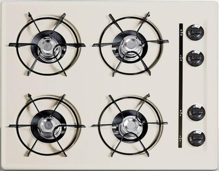 Summit SNL0 Natural Gas Cooktop with Four 9000 BTU Open Burners, Porcelain Enameled Steel Grates, Recessed Top, Porcelain Cooking Surface, Dial Burner Temperature Control, and in Bisque