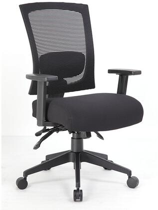 "Boss B6716 40"" Task Chair with Ratchet Back Height Adjustment, Lumbar Support, Pneumatic Gas Lift Seat Height Adjustment,  25"" Black Nylon High Crown Base and 4"" Breathable Mesh Seat Cushions"