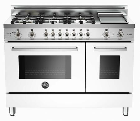 "Bertazzoni PRO486GDFSBI 48"" Professional Series Dual Fuel Freestanding Range with Sealed Burner Cooktop, 3.4 cu. ft. Primary Oven Capacity, in Pure White"