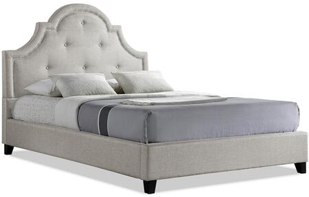 Wholesale Interiors Baxton Studio BBT6433LB Colchester Modern Platform Bed with Scalloped Button Tufted Headboard, Silver Nail Head Trim, Tapered Legs and Fabric Upholstery