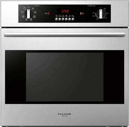 Fulgor Milano 100 Series F1SMXXS1 Single Electric Built-In Wall Oven with Red LED Clock/Timer Display, 8 Cooking Functions, Thermostat Temperature Regulation and 3 Pane Heat Resistant Glass in Stainless Steel